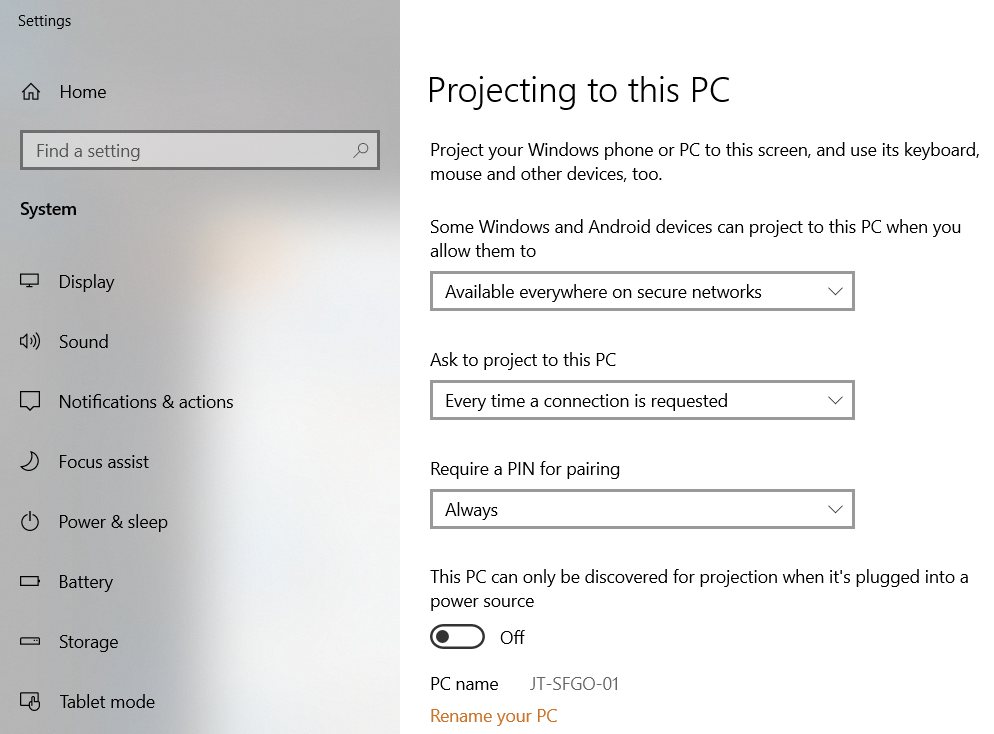 Miracast Projection Settings